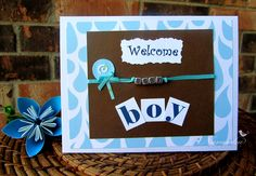 Beautiful Handmade Baby Boy Welcome Greeting by NavankaCreations    We make custom cards too. Make the wishes extra special by sending a custom made greeting card.