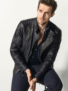 Leather Fashion, Dutti Blue, Fashion For Men, Massimo Dutti, Leather Jackets, Andrew Cooper, Leather Biker Jackets