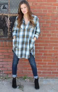 Teton Tunic in Teal Plaid Flannel by CP Shades USA, cp shades clothing, cp shades tunics, free people, anthropologie. Pull on tunic top with open front placket, pointed collar & long sleeves.  Back yoke with slight gathering. Button cuffs & curved shirttail hemline.  Front patch pockets. Flannel