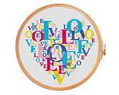 Heart made from the letters in the word love - cross stitch pattern - Valentine's Day letter patterns wedding buy 2 get 3 blue red yellow