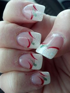 Designs for christmas ideas about Christmas manicure, pretty nails and Holiday nail art. As if ombre nails are not cool enough, this holiday nail design uses a glitter ombre with painted Christmas ornaments on each nail. The look is intricate and fun . Holiday Acrylic Nails, Holiday Nail Art, Xmas Nails, Winter Nail Art, Winter Nails, Christmas Nails, Christmas Holiday, Christmas Ideas, Christmas Ornaments