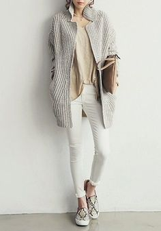Grey Oversized Coat - Unlined Chunky Coat