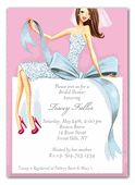 These bridal shower invitations from Bonnie Marcus are sure to make a statement! A fashionable bride is sitting on an over-sized bridal shower gift. Simply fabulous!