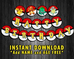 Pokemon Inspired Birthday Party Banner Decoration by 420Printables
