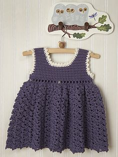 This free crochet pattern in Butterfly Cotton Super 10 is a quick garment to make for summer's warm weather. The dress features 5 cute buttons and can be accented with a ribbon woven through its eyelets.