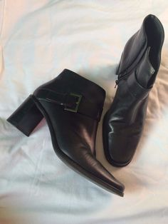 Women's Black Franco Sarto Leather Ankle Boots Shoes Booties Size 7M…