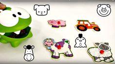 Dessin animé éducatif. Riko et Om Nom font Puzzle avec les images des an...