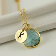 Monogram Necklace, Aquamarine