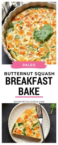 The Rise Of Private Label Brands In The Retail Meals Current Market Butternut Squash Spinach Breakfast Bake Perfect For Fall Breakfast. Breakfast And Brunch, Breakfast Bake, Diet Breakfast, Healthy Low Calorie Meals, Low Calorie Recipes, Healthy Recipes, Whole30 Recipes, Healthy Snacks, Healthy Eating