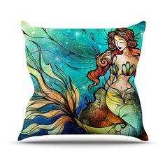 Serene Siren Throw Pillow