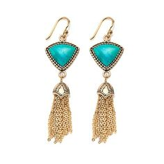 Studio Barse Gemstone Bronze Tassel Earrings