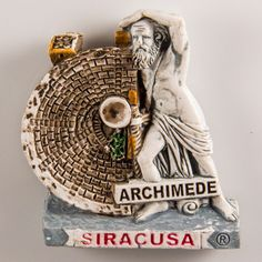 Resin Fridge Magnet: Italy. Archimedes Statue in Syracuse