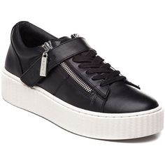J/SLIDES Papper Black Leather Sneaker ($135) ❤ liked on Polyvore featuring shoes, sneakers, black leather, velcro shoes, platform sneakers, leather sneakers, black trainers and black shoes