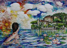 Mosaico in marmi policromi e quarzi con aggiunta di vetro di Murano. Artistic Mosaic made with polichrome marbles and insert of quartz and Murano glass