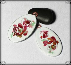 Berry Swirl... Handmade Torch Fired Enamel Charms Pendant Glass Oval Copper…