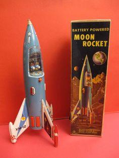 SCARCE YONEZAWA MOON ROCKET XM12 + ORIGINAL BOX SPACE TOY ROBOT   #Yonezawa