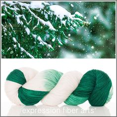 Expression Fiber Arts, Inc. - SNOWY BRANCHES 'RESILIENT' SUPERWASH MERINO SOCK yarn - emerald green and ivory