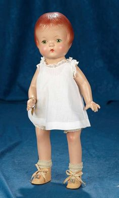 """17"""" American composition """"Patsy-Joan"""" by Effanbee with green linen costume. $200/400 Old Dolls, Antique Dolls, Vintage Dolls, Effanbee Dolls, Reddish Brown Hair, Romper Suit, Dream Doll, Doll Maker, Dollhouse Dolls"""