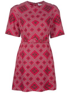 Red cotton blend 'Emile' shift dress from Jonathan Saunders featuring a contrast all-over geometric diamond pattern, round neck, belt at the waist, concealed rear zip fastening and short sleeves. £779