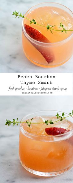 Peach Bourbon Thyme Smash Cocktail Recipe made with fresh peaches and jalapeno s. - Peach Bourbon Thyme Smash Cocktail Recipe made with fresh peaches and jalapeno simple syrup Fancy Drinks, Summer Drinks, Cocktail Drinks, Cocktail Movie, Cocktail Sauce, Cocktail Attire, Cocktail Shaker, Cocktail Ideas, Bourbon Drinks