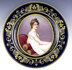 Royal Vienna Porcelain (Austria) — Portrait Plate 'A Young Woman',  late1800s (750x722)