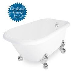 "American Bath Factory Champagne Trinity 60"" White AcraStone Tub & Drain, No Faucet Holes"