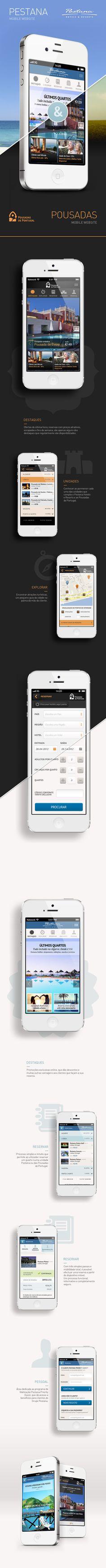 """Pestana e Pousadas mobile site by Inês Araújo, via Behance *** Mobile website for two Portuguese Hotel Brands: """"Pestana Hotels & Resorts"""" and """"Pousadas de Portugal""""."""