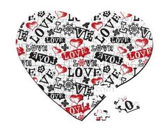 Puzzle a forma di cuore con scritte