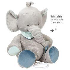 Perfekt zum Einschlafen oder Kuscheln - putziger Elefant spielt die Melodie La-Le-Lu. Nattou #Spieluhr Jack der #Elefant 30 cm