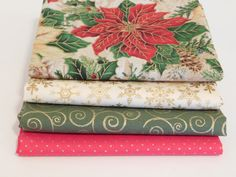Fat Quarter Bundle, Christmas Fabric, Holiday Inspiration Collection, Sewing Fabric, Gold Star, Poinsettia Fabric, Crafting Fabric by NeedlesnPinsStichery on Etsy