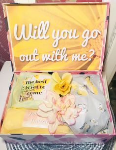 Will You Go Out With Me? Ask Her Out. Break the Ice Gift. Gift for her ideas. Cute by YouAreBeautifulBox on Etsy Custom Cards, Custom Boxes, Asking Someone Out, Flower Collage, Will You Go, Fake Flowers, Inspirational Message, Brighten Your Day, You Are Beautiful
