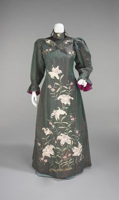 Tea Gown ca. 1898-1901 via The Costume Institute of The Metropolitan Museum of Art.  A woman wore a teagown to receive guests in her own home in the late 19th and early 20th centuries. These garments were far less formal and structured that typical day or evening wear, and as a result, sometimes show more creative or unusual inspirations, such as historic or non-Western forms of dress. This example shows the influence of both Japanese embroidered kimonos and 18th century robes a la…