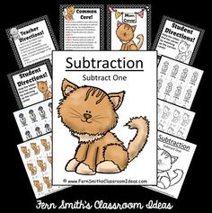 ** 50% Off for the First Two Days! ** Subtract One- Kitten Themed - Quick and Easy Centers and Printables #TPT $Paid