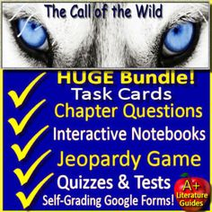 HUGE Printable AND Google Ready Novel Study - The Call of the Wild, a Complete Literature Guide for the novel by Jack London. It is printable, but LINKS are also provided for Google Slides and Google Forms to be shared with your students in Google Classroom or Drive. Each chapter quiz and the final ... Interactive Activities, Writing Activities, Teaching Resources, Persuasive Essays, Narrative Writing, Comprehension Questions, Reading Comprehension, Story Elements Activities, Call Of The Wild