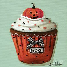 """Halloween Pumpkin Cupcake"" Painting  by Catherine Holman"
