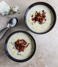 Cheesy Corn Chowder with Bacon + Gorgonzola.