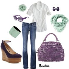 """""""Mint & Purple"""" by hosefish on Polyvore"""