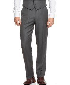 Ryan Seacrest Distinction Grey Striped Slim-Fit Pants