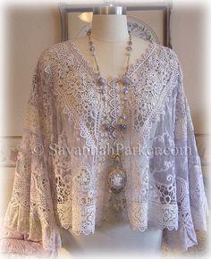 Antique Style Victorian Edwardian Downton Gatsby Jacket - Romantic Lavender Vintage Laces  by Savannahparker.com