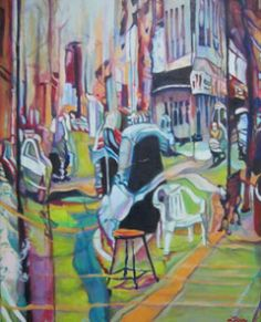 Coming and Going Around Town – Claudette Losier $1,500  In stock   Category: Painting.Product Description  Dimensions: 30″ x 24″