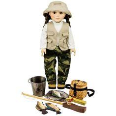 Fishing Adventure Set, Includes Pants, Shirt, Vest, Hat, Hiking Boots, Pole, Fish, Creel, Bucket, Net! Fits 18 inch Girl Dolls, Green