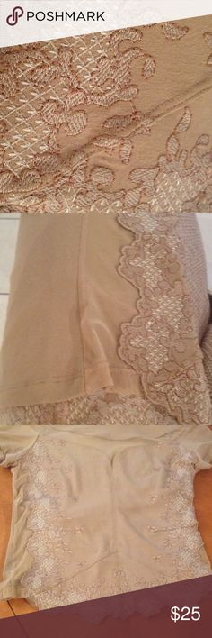 """Adam and Eve top Gorgeous  taupe lace and mesh see thru fabric on sides and in front to crate see thru sweetheart bodice!! So unique. Appliqués hang 2"""" longer in front. Viscose 90%. Elastene 10%  beautiful !!like new adam and eve Tops"""