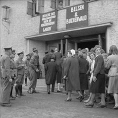 British occupying forces compel the population of the German village of Burgsteinfurt to watch a film showing scenes from the concentration camps at Belsen and Buchenwald