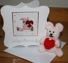 Valentine Card and Teddy hand knitted cute by sweetygreetings, £3.50