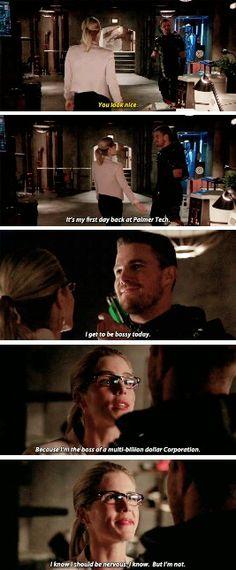 """I know I should be nervous. I know. But I'm not"" - Oliver & Felicity #Arrow"