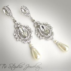 Rhinestone Crystal and Pearl Bridal Chandelier Earrings - from T's Studio Jewelry