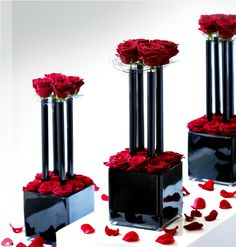 Black & Red Table centrepiece.