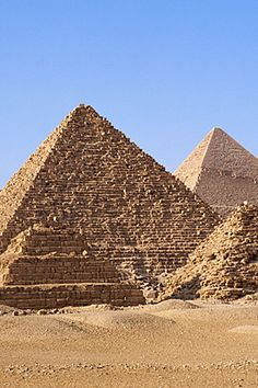 The Great Pyramids of, Giza. These are one of the 7 World Wonders because the Egyptians made them in a period of time where is seemed to be not only improbable but impossible.