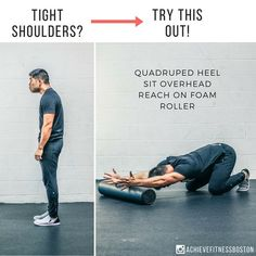 IMPROVE YOUR T-SPINE AND SHOULDER MOBILITY! improve your t-spine and shoulder mobility! For this drill, you'll need a foam roller: 1️⃣Set up on your knees and feet on the floor, and your forearms on the roller. 2️⃣Simultaneously push your hips back and reach your arms overhead, and sink your chest through your arms. 3️⃣Make sure you gently push down into the roller to make it an active stretch rather than passively