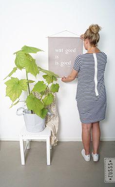 Zusss l Wanddoek wat goed is is goed l http://www.zusss.nl/product/wanddoek-wat-goed-poedergrijs/